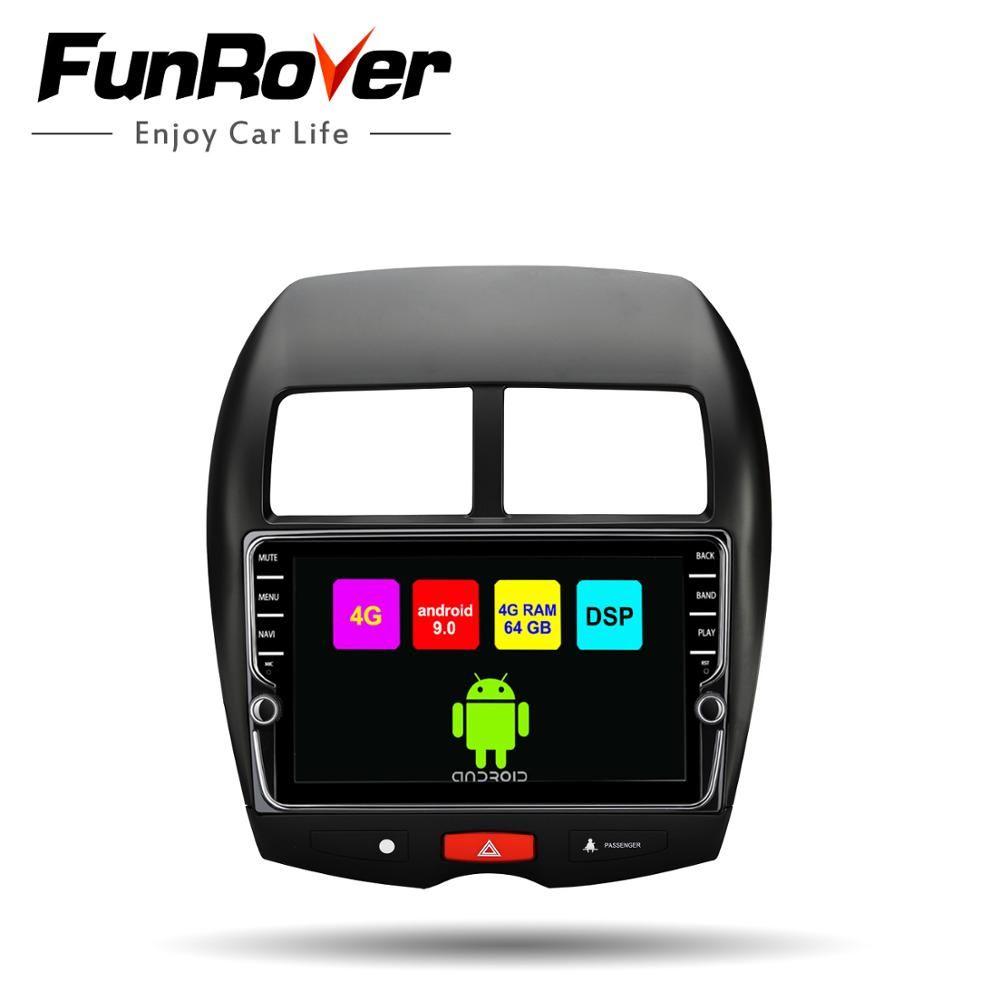 Funrover Octa 8 core android 9.0 auto dvd-multimedia-player radio für Mitsubishi ASX 2010-17 Peugeot 4008 Citroen gps navigation