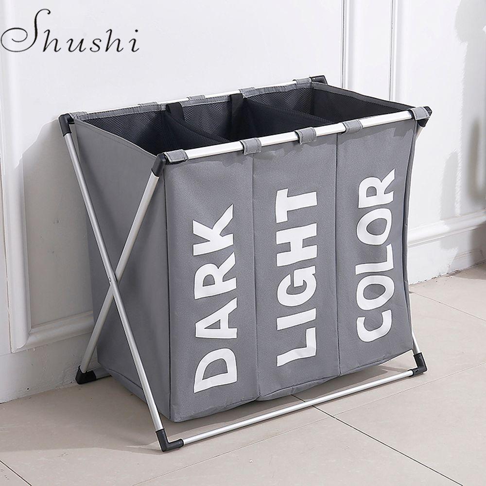 Shushi hotselling étanche à l'eau trois grille blanchisserie organisateur sac sale linge panier pliable maison panier de rangement sac