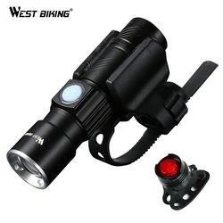 WEST BIKING Bike Light Ultra-Bright Zoomable 240 Lumen Q5 200M USB Rechargeable Bicycle Light Cycling Front LED Flashlights Lamp