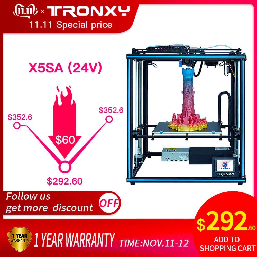 Tronxy Verbesserte Neue X5SA 24V 3D Drucker DIY Kits Auto Level Großen Druck Größe wärme bett 3d Maschine Filament sensor