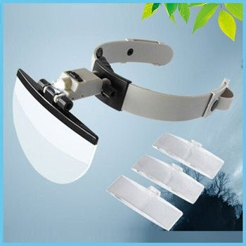 2X 3.8X 4.5X 5.5X Helmet Magnifying Glass LED Illuminated Watch Jewelry Repair Reading Headband Magnifier Loupe with 4 Lens