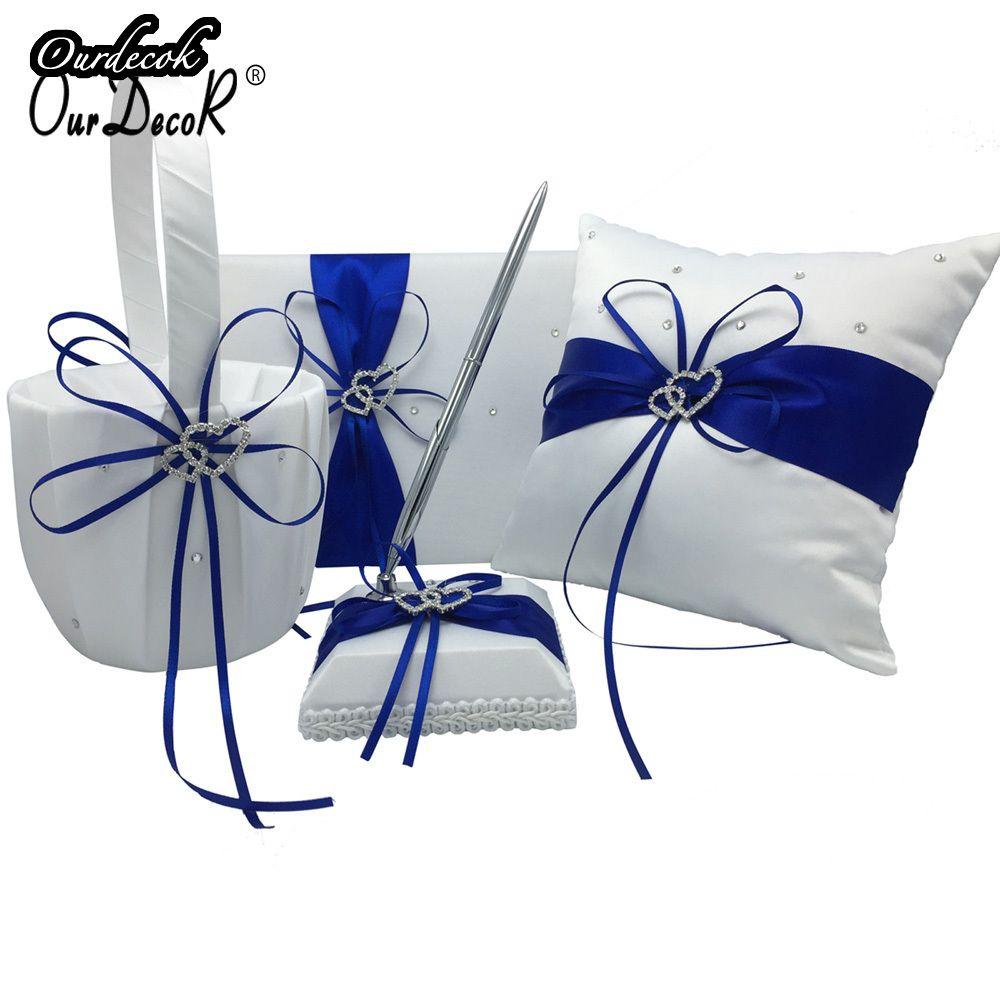 4 pièces/ensemble bleu Royal décoration de mariage nuptiale Satin anneau oreiller + panier de fleurs + livre d'or + ensemble de stylos Casamente produits