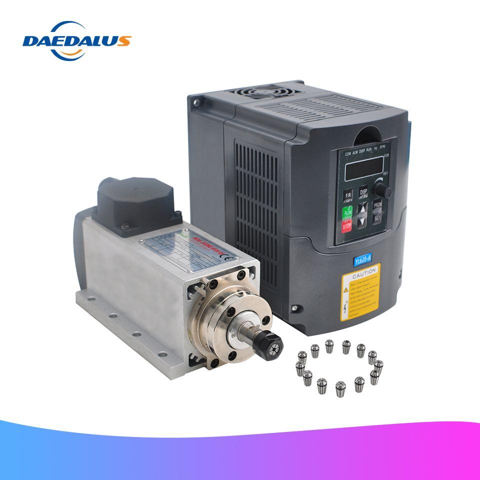 1.5KW Luft Gekühlt CNC Spindel Platz Router Spindel Motor + 110V 220V VFD Inverter Konverter 13 stücke ER11 spannzange Für Fräsen