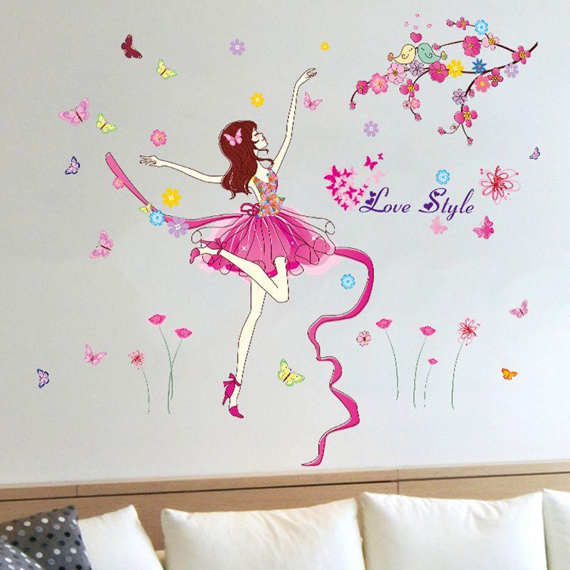 [SHIJUEHEZI] Sticker mural danseur de Ballet fille de bande dessinée dansant Elven fée décoration murale pour enfants chambre bébé chambre décoration