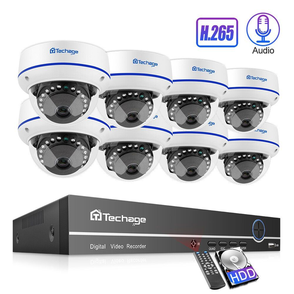 Techage H.265 8CH 1080P POE NVR Kit Sicherheit Kamera System 2.0MP HD Dome CCTV POE Kamera IR Nacht Vision video Überwachung Set