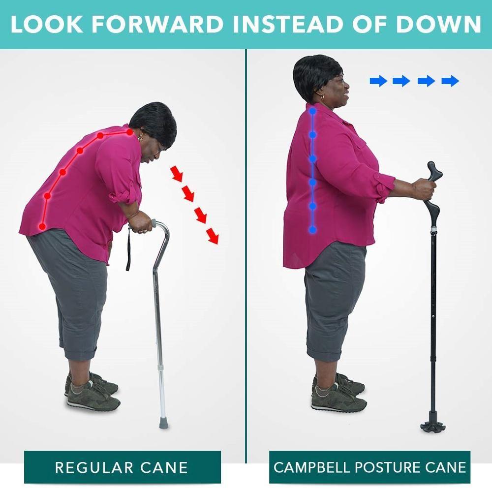 Posture Cane Telescopic / Fold Elderly Walking Crutch Trekking Hiking Metal Stick Posture Cane Camp Outdoor Poles Crutches