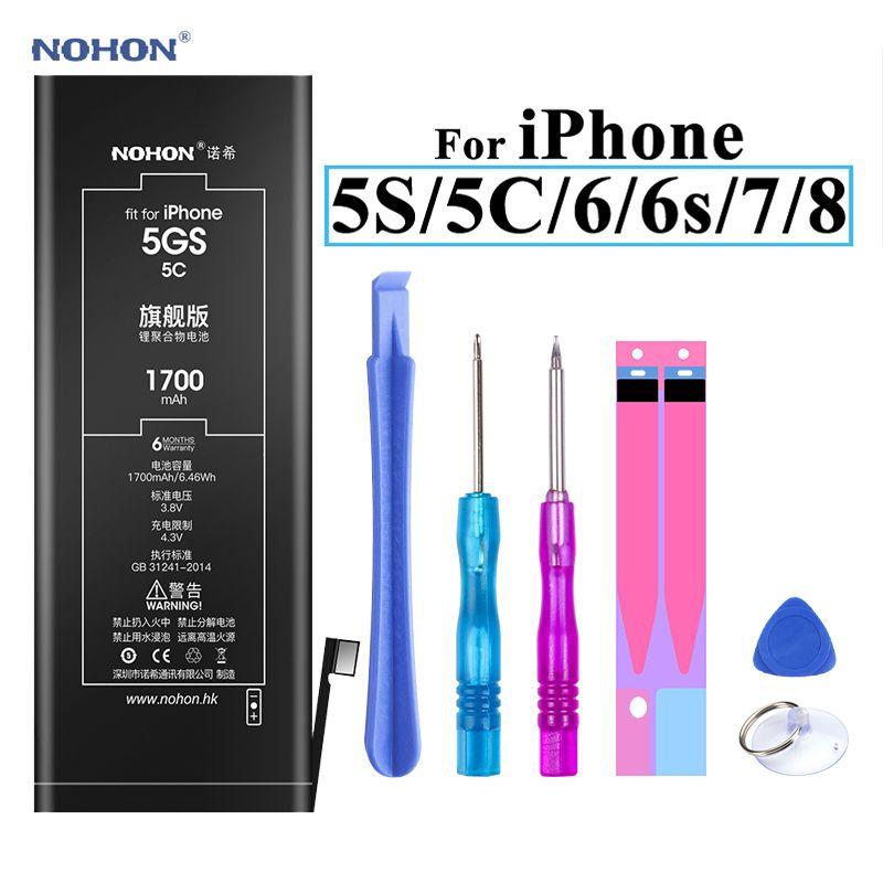 Batterie Nohon pour Apple iPhone 5S 5C 6 6s 7 8 batterie li-polymère haute capacité + outils pour Apple iPhone 5S 5C 6 6s 7 8 Batteries