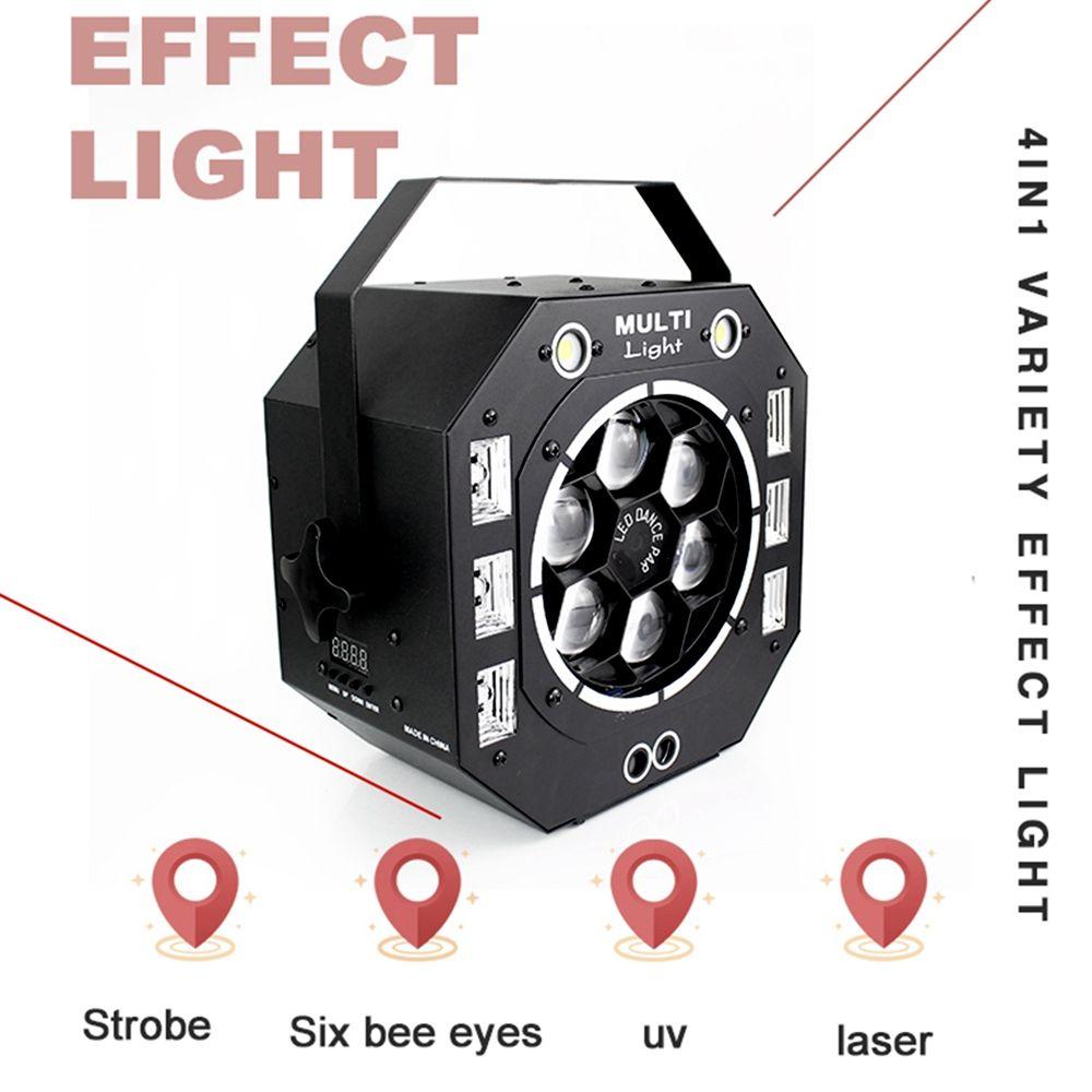 120W LED Disco Licht Strahl Strobe Laser UV 4IN1 Bühne Lichter DJ Disco Sound Aktiviert Laser Projektor Wirkung Licht für Weihnachten