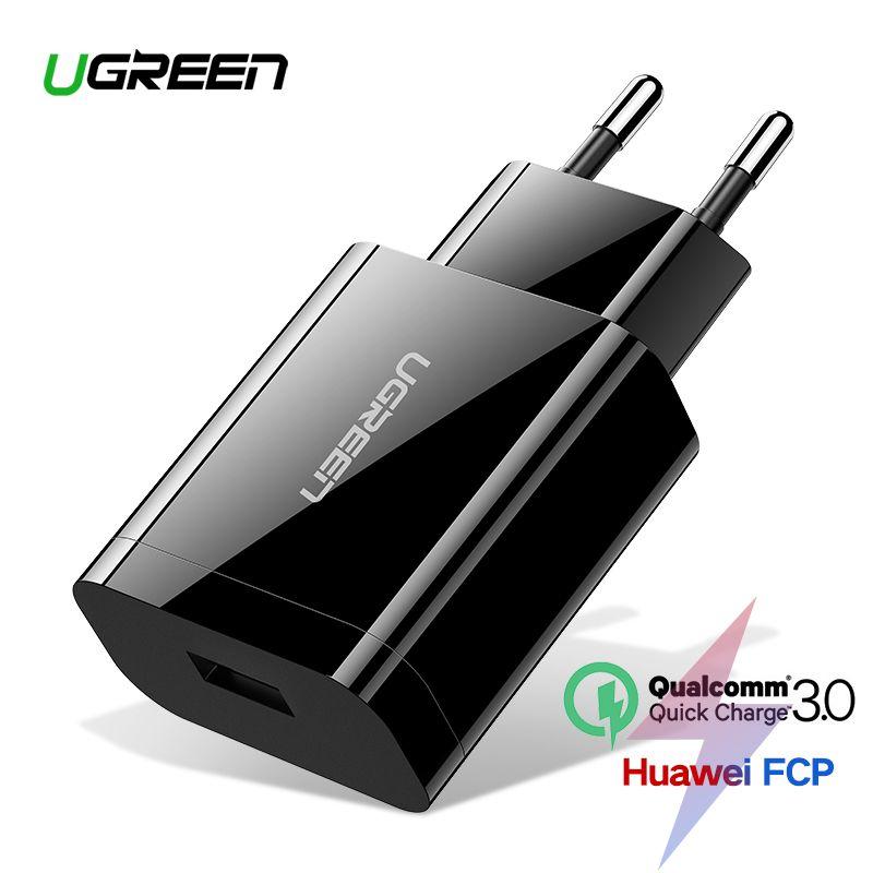 Ugreen Charge rapide 3.0 QC 18W chargeur USB QC3.0 chargeur mural rapide pour Samsung s10 Xiaomi iPhone Huawei chargeur de téléphone portable