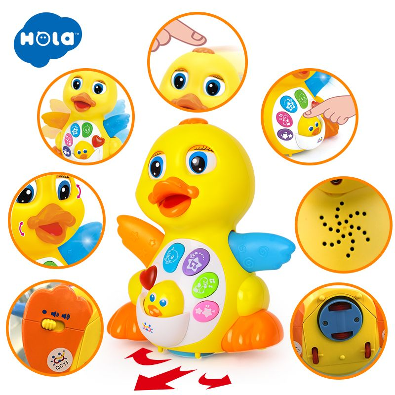 HOLA 808 Musical Flapping Yellow Duck Action Educational Learning and Walking Toy for 1 Year Old Baby Toddler Girl Boy Xmas Gift