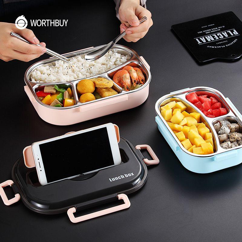 WORTHBUY Japonais Enfants Boîte à Lunch 304 boîte À Bento en acier inoxydable Avec Compartiment Vaisselle Micro-ondes Boîte de Récipient de Nourriture