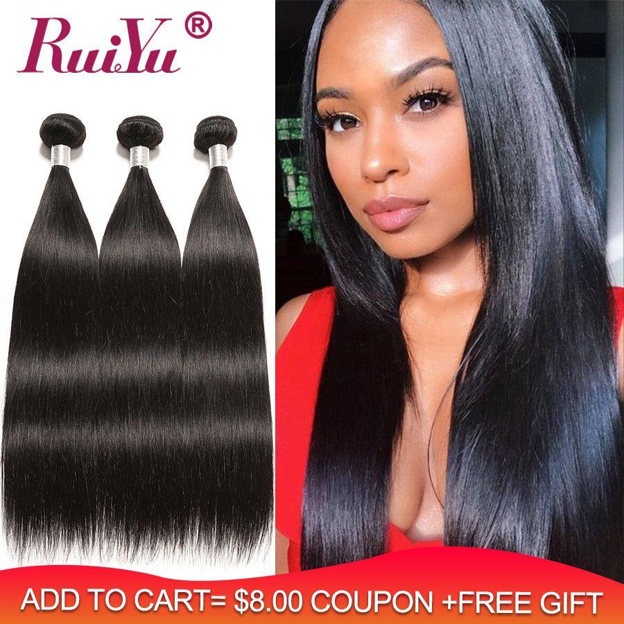 RUIYU cheveux raides paquets de cheveux humains Extension de cheveux péruvienne 3 paquets offres Remy cheveux peut par 3/4 pièce