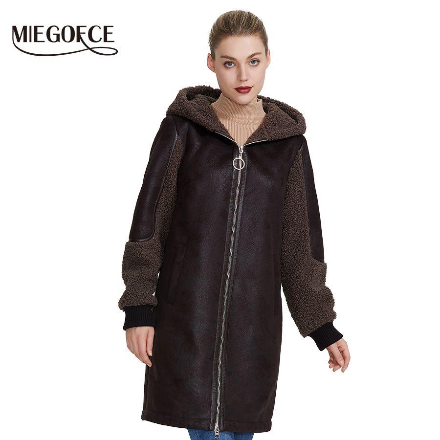 MIEGOFCE 2019 Neue Winter Frauen Sammlung Faux Pelz Jacke Damen Mantel Design Frauen Schaffell Parka Knie-Länge Winddicht Haube