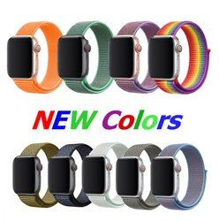 38mm 42mm 40mm 44mm band for apple watch series 1 2 3 woven nylon band strap for iWatch 4 5 colorful pattern classic buckle