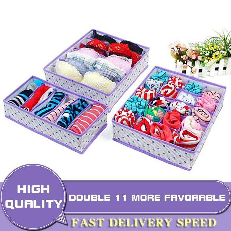 Pliable Non-tissé boîtes de rangement ensemble cravates soutien-gorge chaussettes dessiner diviseur conteneur pour sous-vêtements organisateur maison boîte de rangement