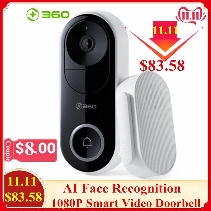 360 D819 1080P Smart Video Türklingel AI Gesicht Anerkennung IR WiFi Video Intercom Wolke Aufnahme Alarm Wireless Security Kamera