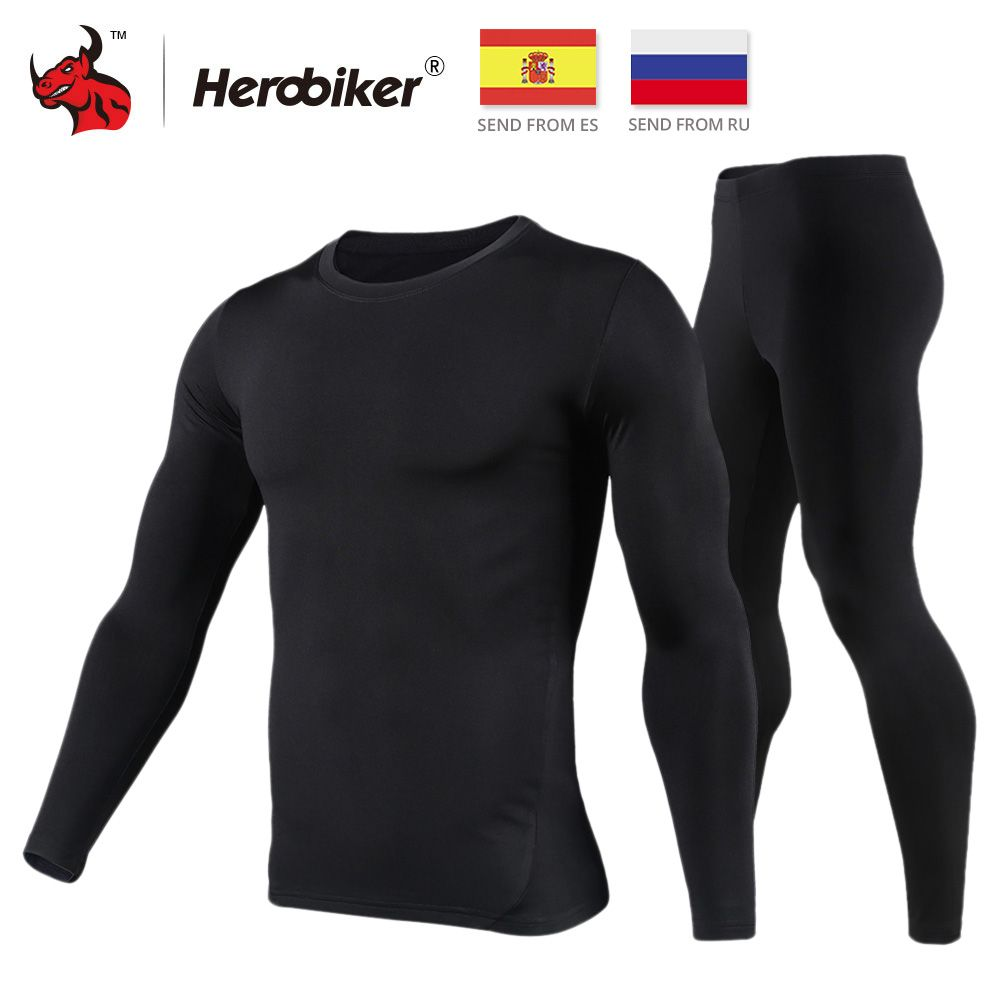 HEROBIKER moto sous-vêtement thermique ensemble hommes moto ski hiver chaud Base couches serré Long Johns hauts & pantalon ensemble