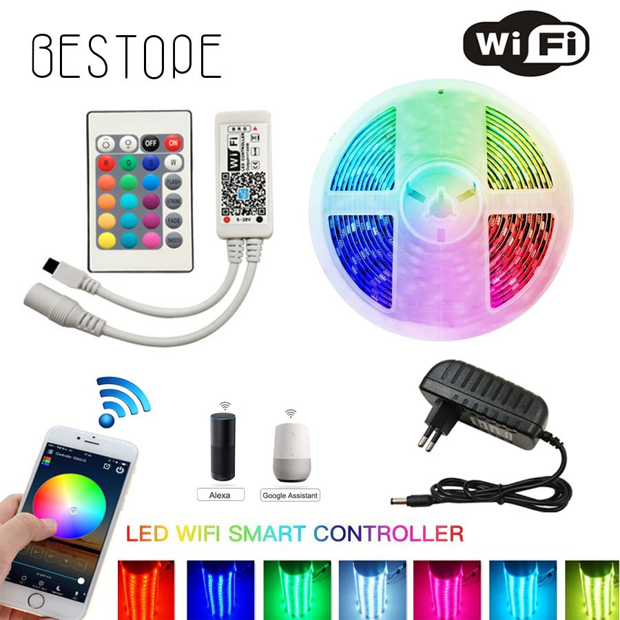 IR wifi LED bande Non étanche 5M 10M RGB LED bande lumière 5050 300 LED s/M Flexible éclairage ruban ruban contrôleur adaptateur