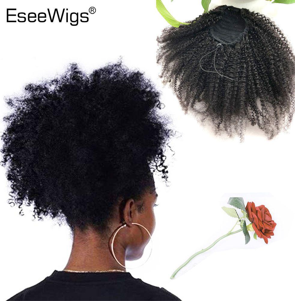 Eseeperruques 4B 4C Afro crépus bouclés cheveux humains queue de cheval pour les femmes noires couleur naturelle Remy cheveux 1 pièce Clip en cordon queues de cheval