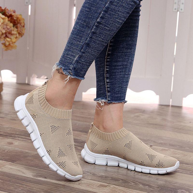 Lucyever Women Spring Summer Sneaker Knitted Mesh Vulcanized Shoes Casual Slip on Flat Soft Walking Footwear Zapatos De Mujer