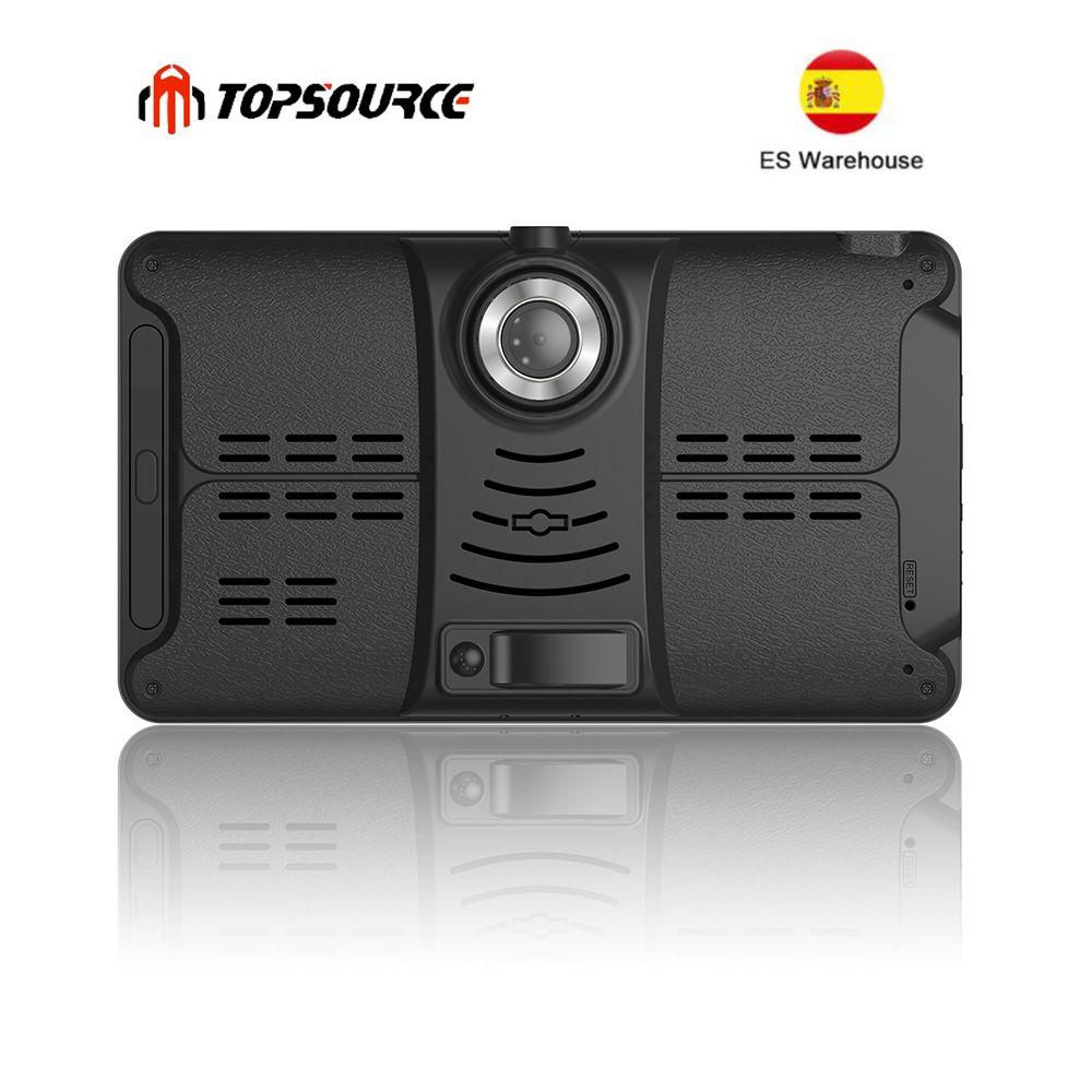 TOPSOURCE voiture DVR GPS Navigation 16G 7 pouces 1024*600 Android Bluetooth wifi fhd 1080p caméra enregistreur véhicule GPS enregistrement gratuit ma