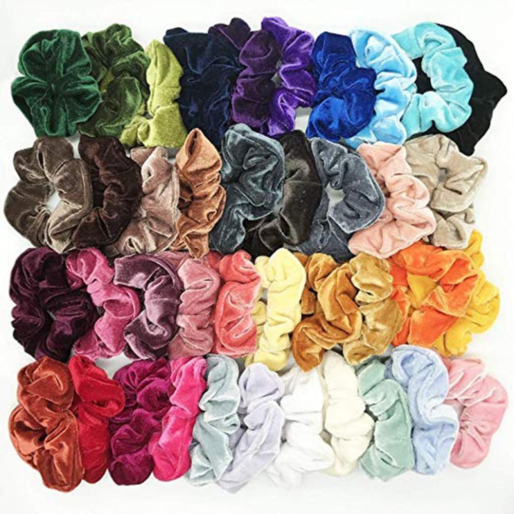40Pcs/lot Fine Cheap Velvet Elastic Hair Bands Scrunchy Hair Rope for Women Girls Hair Grooming Accessories Whoelsale 30H