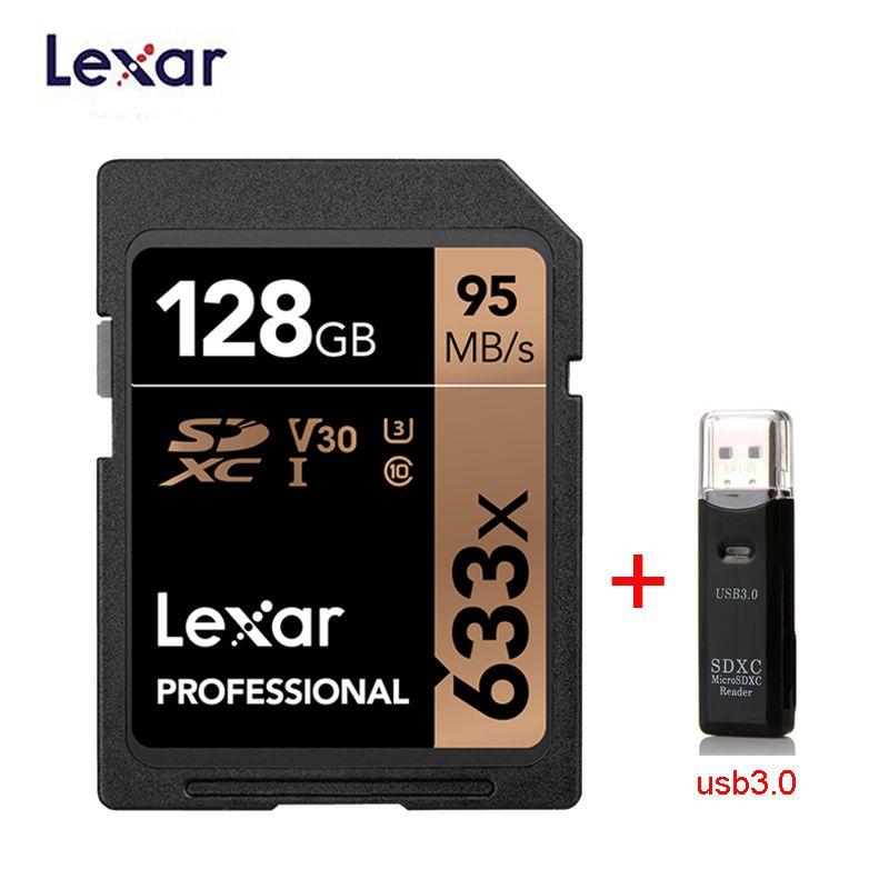 Lexar carte SD 633x Original 95 M/s 32GB U1 SDHC 64GB 128GB 256GB 512G U3 SDXC classe 10 carte mémoire pour 1080p 3D 4K caméra vidéo