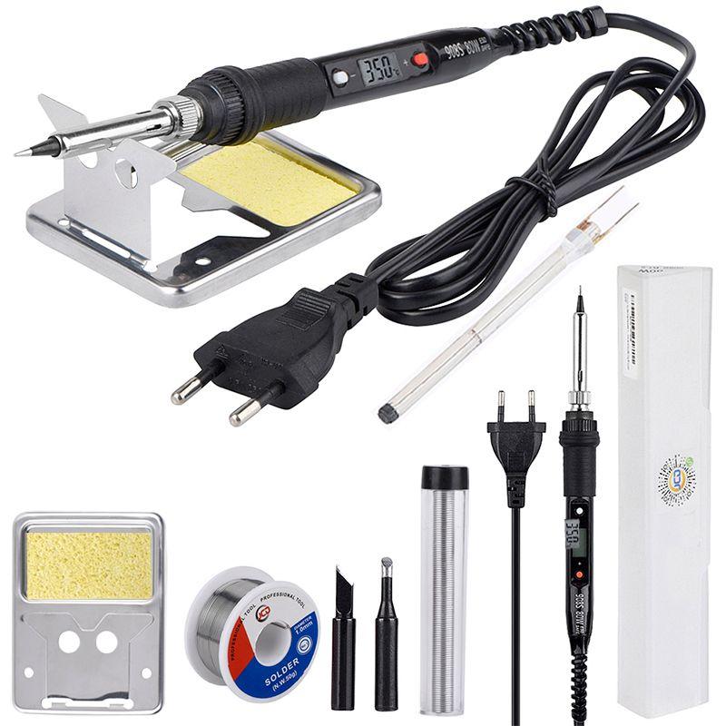 JCD 80W LCD soldering iron 220V 110V adjustable Temperature Welding Solder Repair tool Ceramic heat soldering iron Tips kits