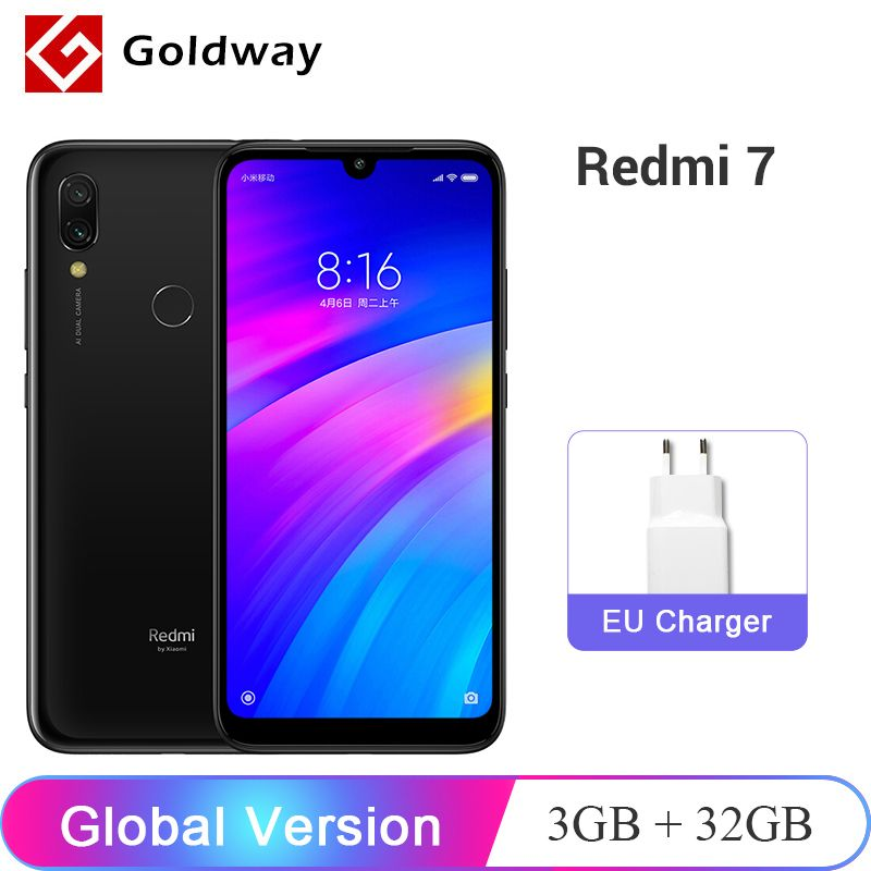 En Stock! Version globale Xiaomi Redmi 7 3GB RAM 32GB ROM téléphone portable Snapdragon 632 Octa Core 12MP 6.26 4000 mAh batterie