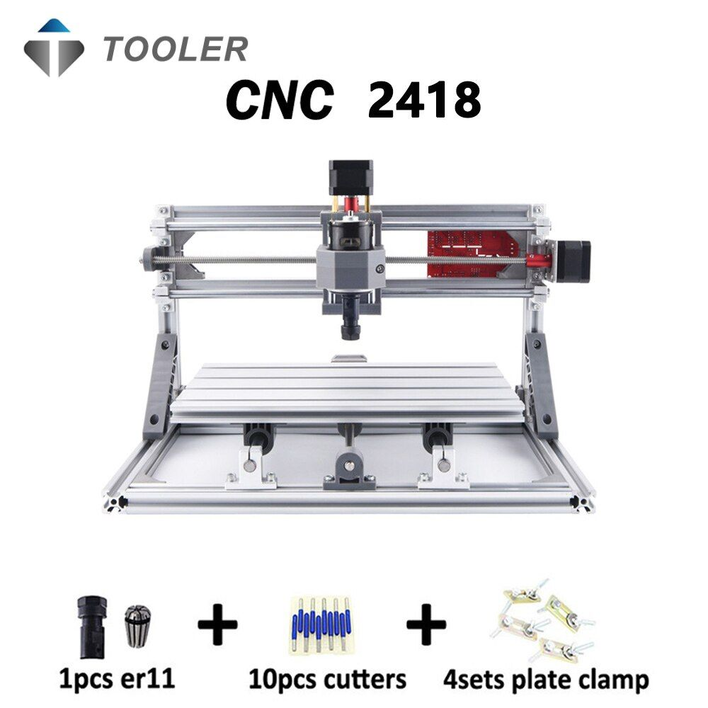 CNC 2418 avec ER11, bricolage mini CNC machine de gravure laser, fraiseuse Pcb, Machine à découper le bois, routeur de CNC, CNC 2418, jouets