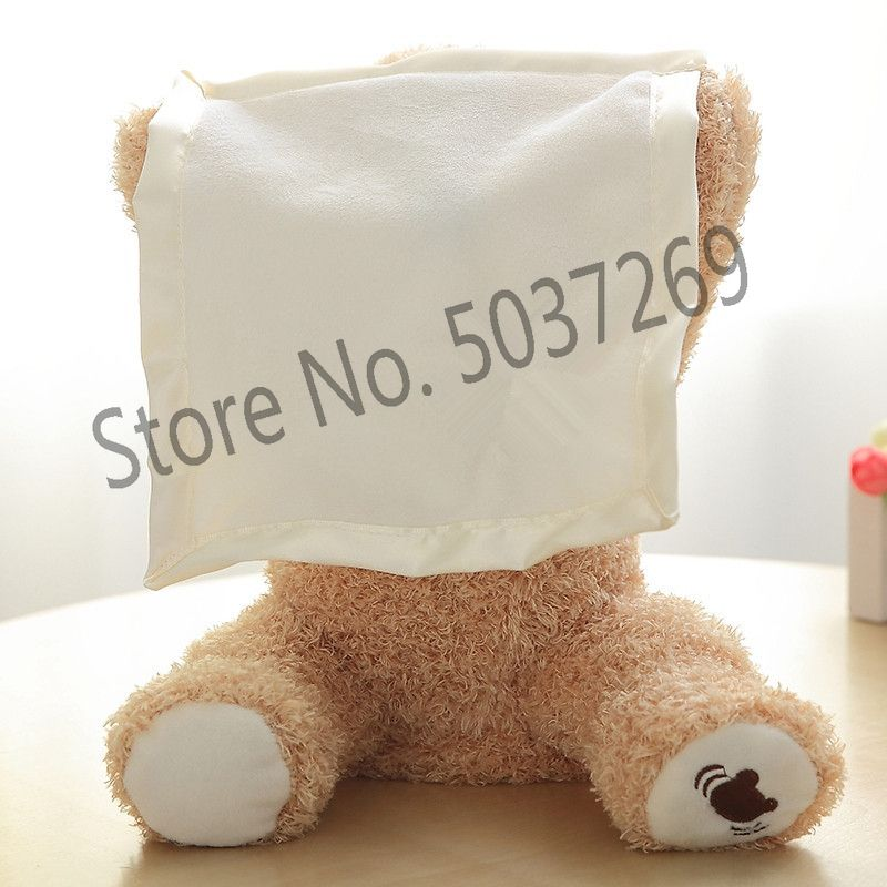 New 30cm Peek A Boo Teddy Bear Play Hide Seek Lovely Cartoon Stuffed Kids Birthday Xmas Gift Cute Electric Music Bear Plush Toy