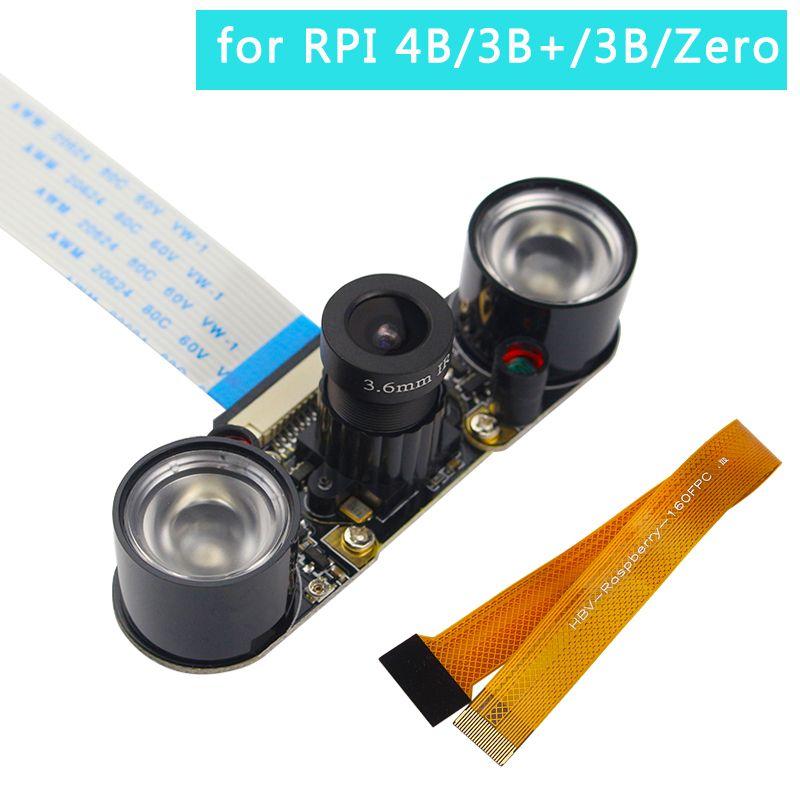 Raspberry Pi 4 Module de caméra Vision nocturne OV5647 5MP caméra focale réglable + 2 capteurs infrarouges LED lumières pour RPI 4 3 Zero W