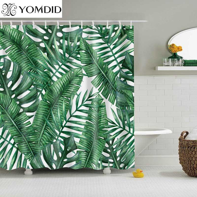 Plantes tropicales vertes rideau de douche salle de bain rideau de douche en Polyester imperméable feuilles rideaux d'impression pour douche de salle de bain