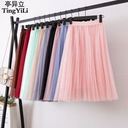 TingYiLi Tulle Skirts Womens Black Gray White Adult Tulle Skirt Elastic High Waist Pleated Midi Skirt