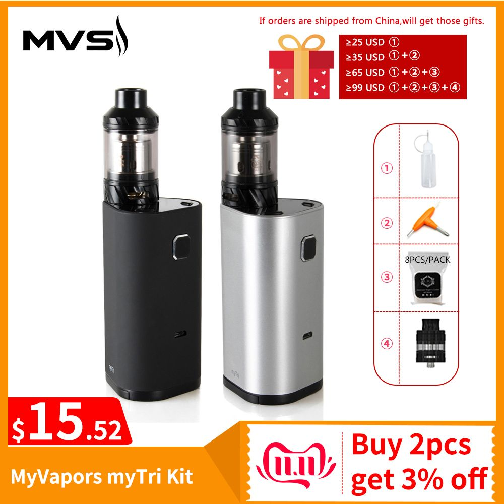 [RU Warehouse] Original MyVapors myTri Kit with KAGE Atomizer Output 300W VW/TC/TCR Mode Vape Kit VS Myjet Kit E-Cig
