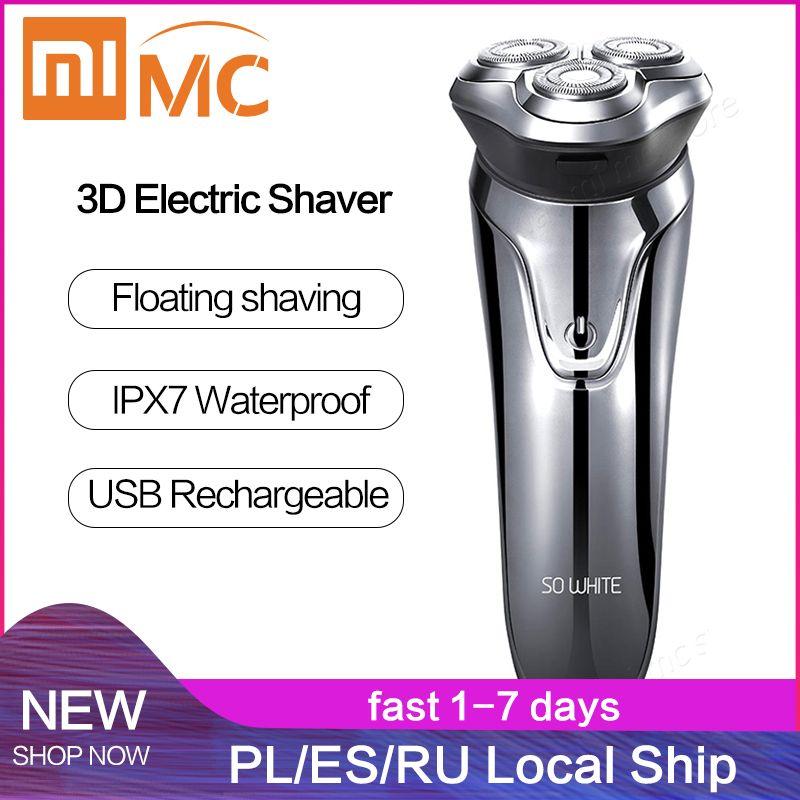 Xiaomi Soocas si blanc rasoir électrique rasoir hommes lavable USB Rechargeable sans fil 3D contrôle intelligent rasage barbe Machine