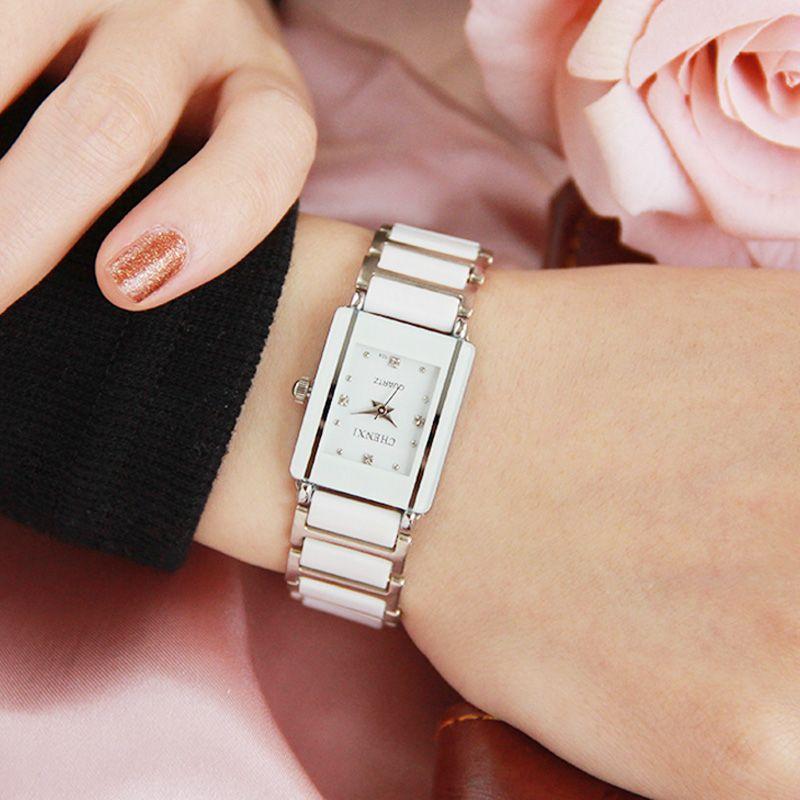 Marque de luxe CHENXI montre élégante femme strass blanc argent Simple Design élégant Bracelet en céramique Quartz décontracté