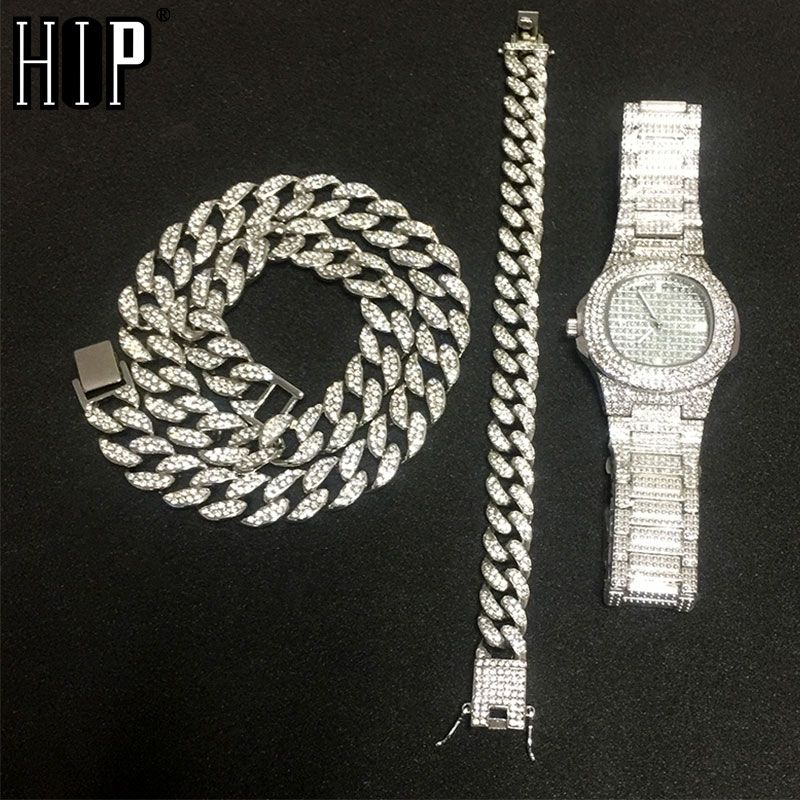 Necklace +Watch+Bracelet Hip Hop Miami Curb Cuban Chain Gold Silver Iced Out Paved Rhinestones CZ Bling Rapper For Men Jewelry