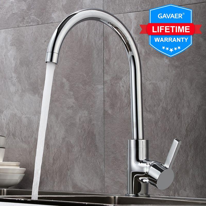 Gavaer robinet de cuisine 360 rotation robinet d'évier de cuisine classique robinets d'eau lisse ajuster la conception chaud et froid double usage et filet moussant