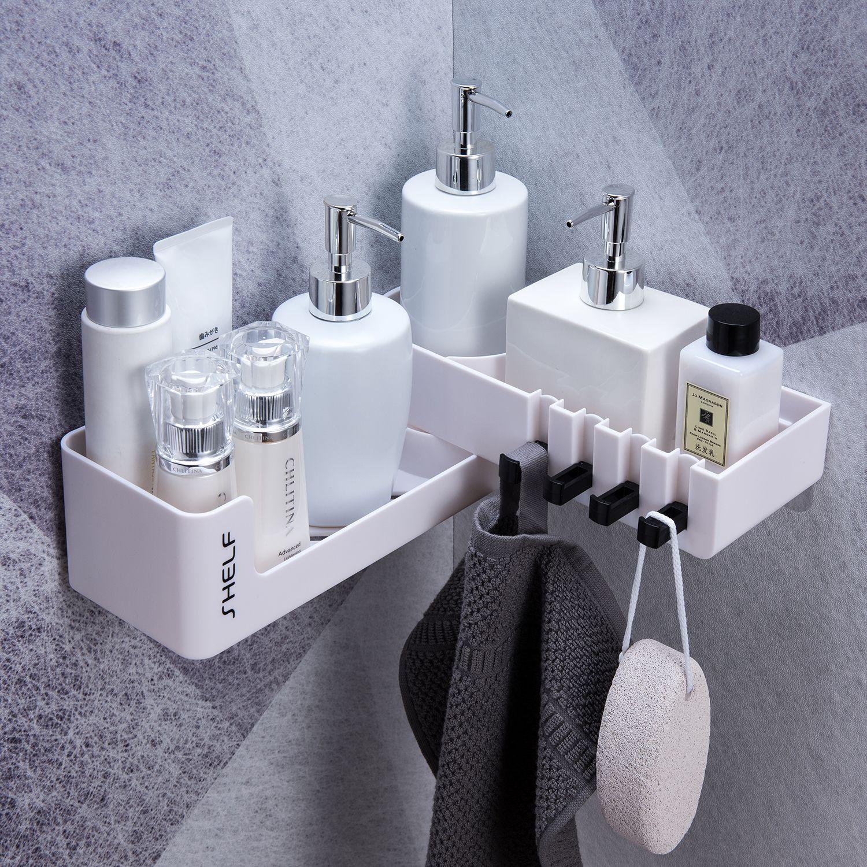 Organisateur de salle de bain rotatif avec 4 crochets fixés au mur pour l'organisation de stockage de cuisine