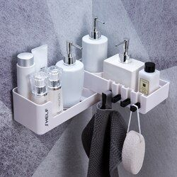 Organizador giratorio para el baño con 4 ganchos montado en la pared para el almacenamiento de la cocina estante organizador de la ducha