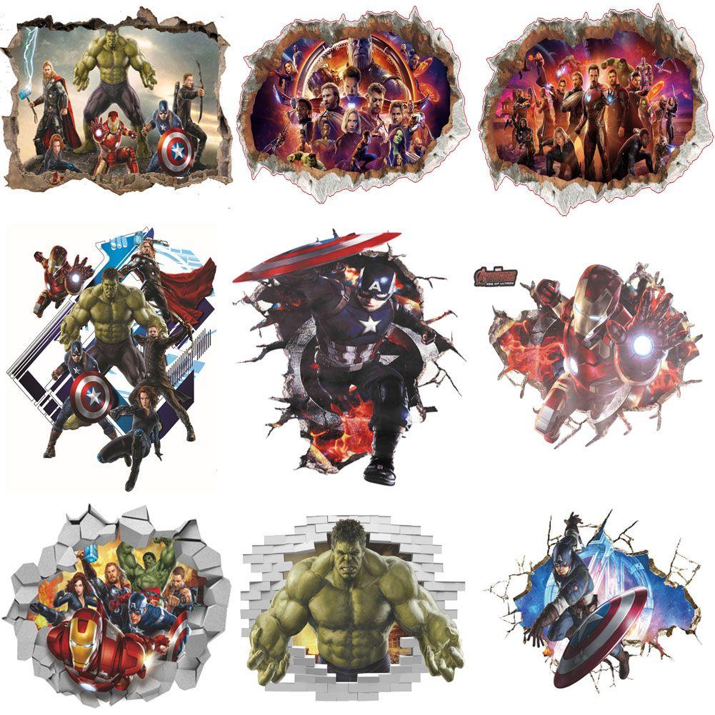 3D Stickers muraux maison décoration murale Avengers autocollants pour enfants chambre chambre décoration Marvel Poster Mural papier peint Stickers muraux