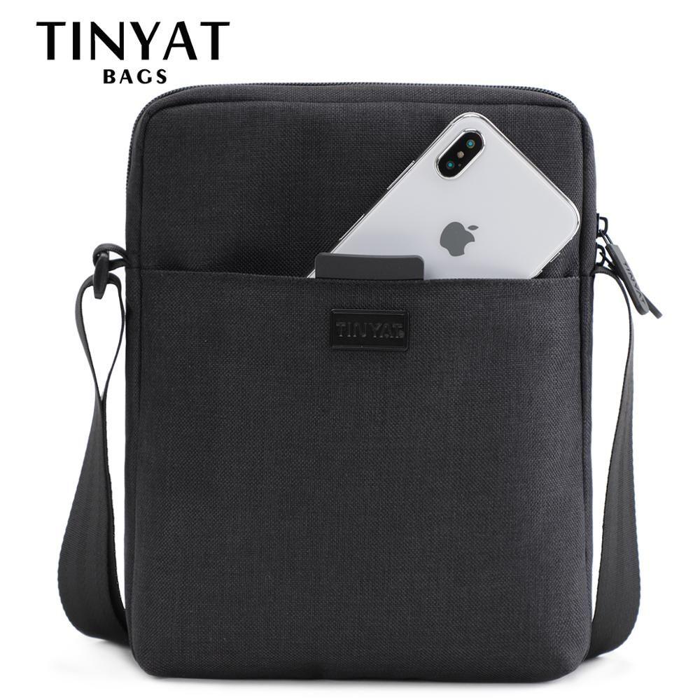 TINYAT hommes sacs toile légère sac à bandoulière pour 7.9 'Ipad décontracté sacs à bandoulière étanche affaires sac à bandoulière pour hommes 0.13kg
