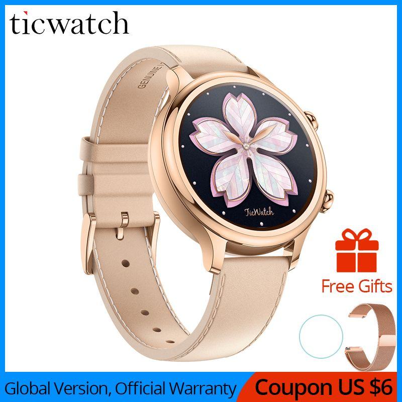 Original Ticwatch C2 Smartwatch Tragen OS durch Google Eingebaute GPS Herz Rate Monitor Fitness Tracker Google Zahlen Freies Geschenk- strap