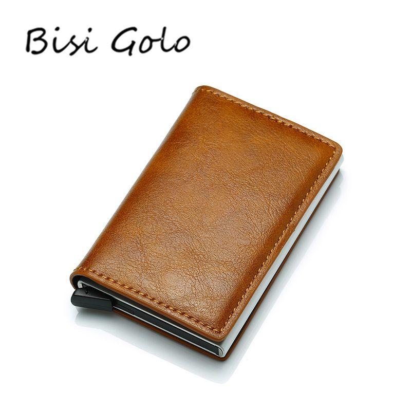 BISI GORO antivol hommes Vintage porte-carte de crédit bloquant Rfid portefeuille PU cuir unisexe informations de sécurité sac à main en aluminium