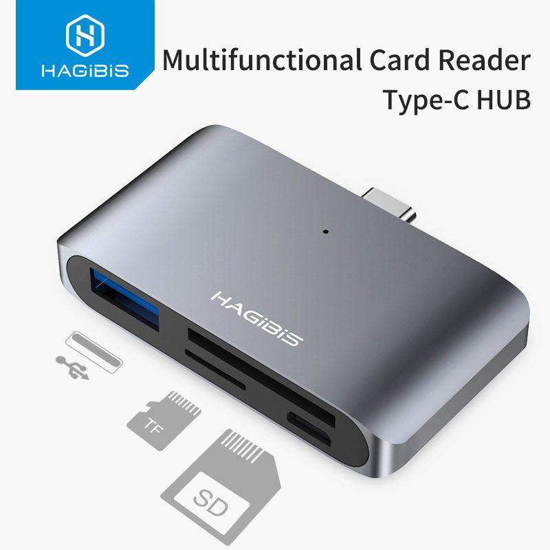 Hagibis Type-C Card Reader USB-C To USB 3.0 SD/Micro SD/TF OTG Card Adapter For Laptop/USB-C Phone TypeC Multifunction Converter