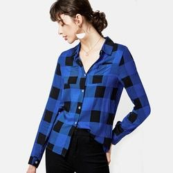 Women Plaid Shirts 2019 Spring Long Sleeve Blouses Shirt Office Lady Cotton Pockets Shirt Tunic Casual Tops Plus Size Blusas