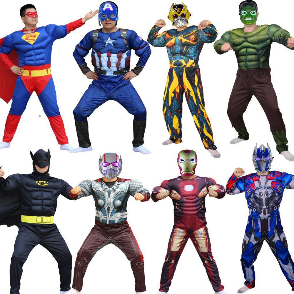 Super-héros Batman Captain America Hulk avec masque fête de vacances Cosplay Costumes adultes hommes femmes Batman Halloween habiller