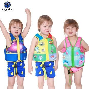 Megartico life vest children 2 3 4 5 6 years old kids swim trainer vest shark blue swimming vest boy life jacket foam float pad