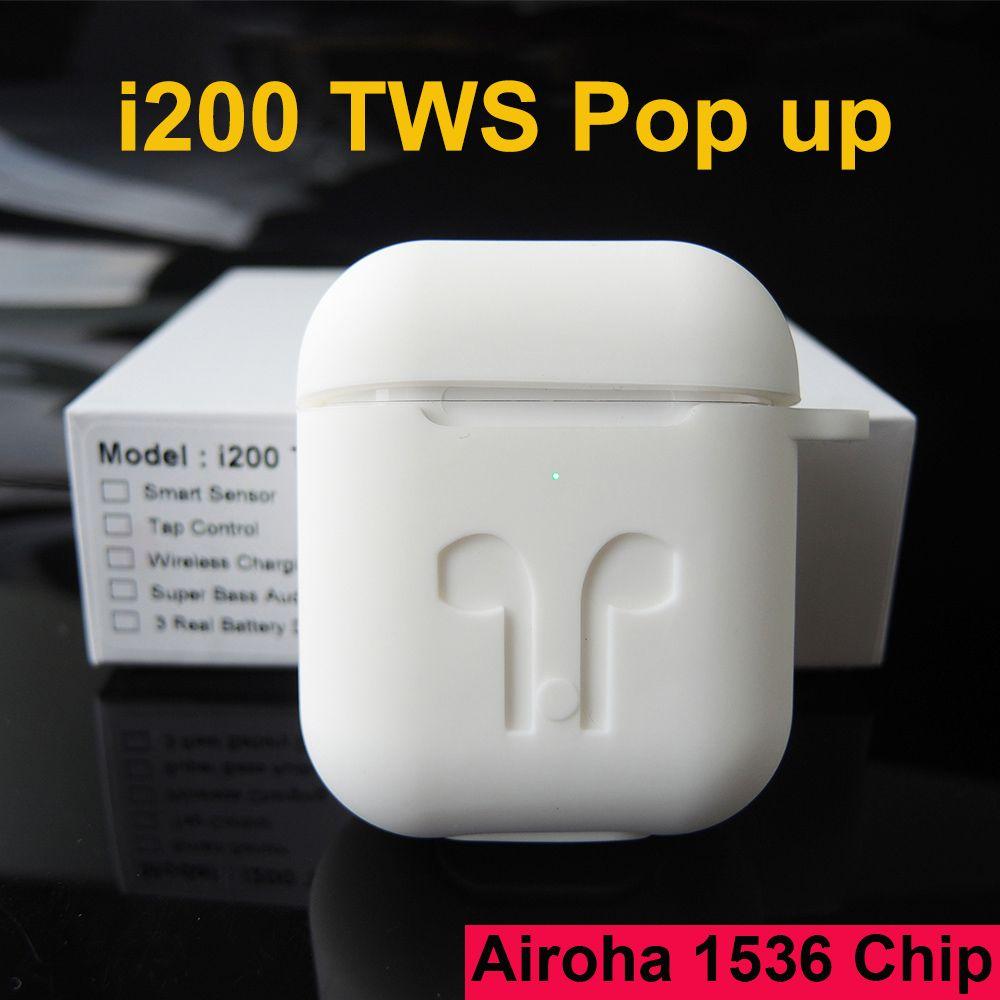 Original i200 tws bluetooth earphone PK W1 H1 Smart Sensor Tap control Wirless charging Earbuds PK i10 i12 i30 i60 i500 i100 TWS
